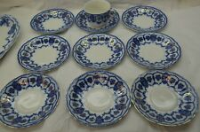 ANTIQUE FLOW BLUE CHINA CUP SAUCER SET 10 PC JOHNSON BROTHERS ECLIPSE ENGLAND