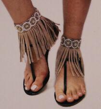 Accessories Tan (Pair) Beaded Bohemian Fringe Anklet
