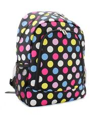 Black Multi Colored Polka Dots canvas Backpack, School Bag, Book Bag, Back Pack