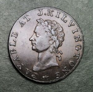 1795 J. Kilvington's Brunswick Halfpenny, 1/2d Conder Token.  D&H Middlesex 346.