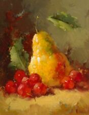 Pears and Cherries I Vera Oxley Still Life Art Print 8.5x10.5