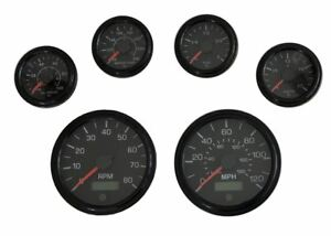 6 Gauge set, Speedo,Tacho (8KRPM),Oil,Temp,Fuel,Volt, black/black bezel, 001BB