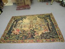 "Vintage Fine French European Woven Tapestry Victorian Garden 48"" x 72"" France"