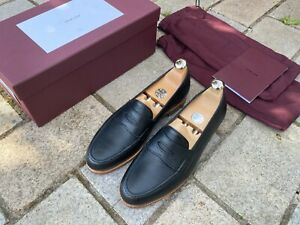 John Lobb Lopez Black Deer Skin Loafers UK 7 E  4395 Last half lined £1015 RP