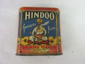 VINTAGE ADVERTISING EMPTY HINDOO  VERTICAL POCKET  TOBACCO TIN  302-E