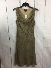 Ann Taylor Silk Dress Brown Animal Print Sleeveless Draped Cowl Neck Size 8 NWT