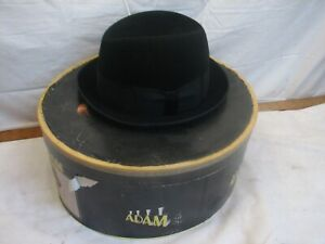 Sm Vintage Black Felt Fedora Men's Hat Alonge & Cie Paris in Hatbox Box Fashion