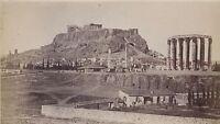 Grecia Il Tempio Di Zeus E L Acropoli Foto Albumina 8x14 CM Ca 1880
