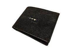 100% Genuine Stingray Leather Wallet Black Color Bifold Men Wallet Free Shipping