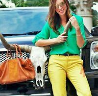EXPRESS Small S Portofino Button Up Roll Tab Long Sleeve Shirt Top Green Jade