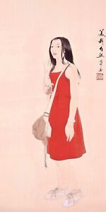 100% ORIENTAL ASIAN FINE ART CHINESE FIGURE WATERCOLOR PAINTING-Beauty Girl