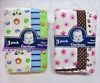 GERBER FLANNEL BURPCLOTH SET 3 OR 4 PACK BABY GIRLS BOYS CUPCAKE BALLS KITTY NEW