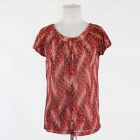 Red white black seersucker THE LIMITED cap sleeve scoop neck semi-sheer blouse S