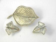 BSK Leaf Brooch and Earrings Vintage Jewelry figural Leaves