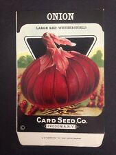 1930-40s Litho Antique Vintage Seed Packet Onion Red Card Seed Co Pack Mint