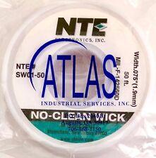 NTE SW01-50  SOLDER WICK NO CLEAN #3 GREEN 50FT .075 INCH WIDTH *Free Shipping*