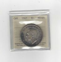 **1947 Blunt 7** ICCS Graded Canadian Silver Dollar **MS-65**