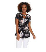 Isaac Mizrahi Live! Floral Printed Knit Peplum Top with Keyhole,Size 2X, A30801