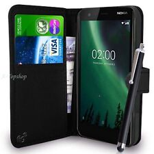 Wallet Case PU Leather Cover For Nokia 2 Mobile Phone Black