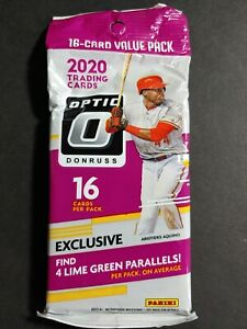 New 2020 Donruss Optic Baseball Cello Fat Value Pack Lime Green Parallels
