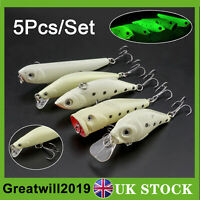 5X Luminous Fishing Lure Bait Hook VIB Popper Crank Minnow Pencil Glow Fish Lure