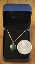 "14kt Yellow Gold 15 Inch Box Link Necklace & 7/16"" Jade Heart Pendant."