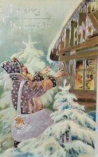 St Nicholas Old World  Father Christmas Brown Robed Santa Gilded Emb Postcard O8