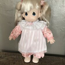 Vintage Precious Moments Porcelain Doll IN Pink/White Dress,  ADORABLE DOLL