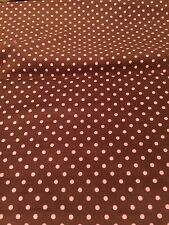 Medium Brown/ Pink Dot Design Soft 20 Wale Corduroy Fabric BTY
