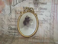 Antique Victorian Edwardian Picture Frame Wood & Gesso-Oval Original Photo Woman
