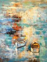 CHOP1234 abstract small boat 100% handmade painted oil painting art on canvas