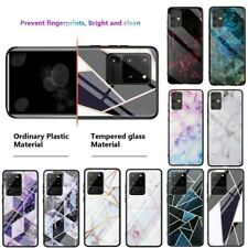 For Samsung S20+ Note10+ S10e A70 Marble Pattern Glass Shockproof TPU Case Cover