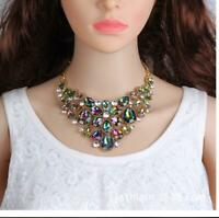 Evening Flower Choker Necklace Earrings AB Rhinestones Drag Queen Pageant Bridal