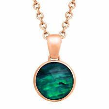 12 ct Natural Quartz & Abalone Pendant in 18K Rose Gold-Plated Bronze