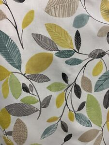 Fryetts Molveno Ochre Floral Leaf Printed Cotton Fabric By The Metre