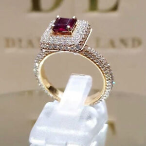 Gorgeous Princess Ruby Garnet White Gold Plated Bridal Wedding Ring Woman Ring