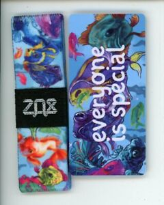 Medium ZOX Silver Strap EVERYONE IS SPECIAL Wristband with Card Reversible