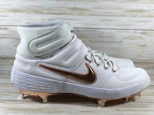 Nike Alpha Huarache Elite 2 Mid Baseball Cleats White Copper Mens 12 AJ6874-109