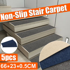 5Pcs Stair Pads Mat Carpet Anti-slip Sticky Bottom Repeatedly-use Home 66X23CM
