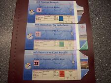 TICKET EURO 2000  3 MATCHES DENMARK vs FRANCE ,HOLLAND and CZECH REPUBLIC