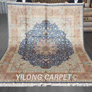 YILONG 8'x10' Blue Handmade Silk Area Rug Medallion Traditional Carpet 562A