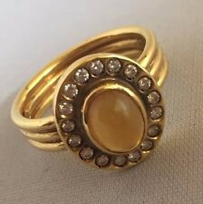 Unique Tiffany & Co.18k Gold Made in Italy Diamond and Cabocon Citrin Ring