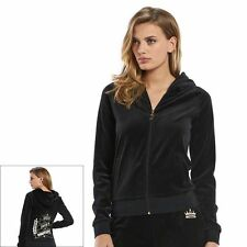 NWT Authentic Women's Juicy Couture Velour  Hoodie Jacket All Time Black Grau