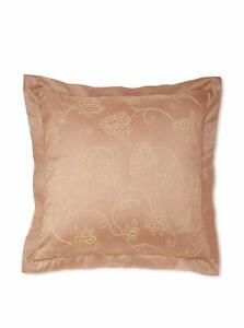 TWO WATERFORD CALLUM SPICE CREWEL EMBROIDERED FLORAL EURO SHAMS