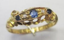 Edwardian 18ct Gold Cornflower Sapphire & Diamond Ornate Ring Chester 1902