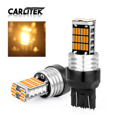 2X 7443 4014 T20 Amber Yellow 45SMD Canbus Car LED Tail Turn Signal Light Bulb