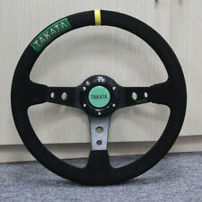 "13"" 350mm Deep Dish Steering Wheel SUEDE Drifting Rally Yellow Spars Black Suede"