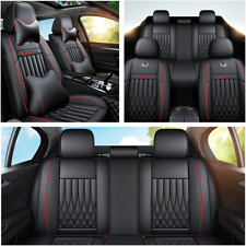 11Pcs Car Seat Cover Protector Cushion Front & Rear Full Set Leather W/Pillows