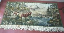 New listing Vintage Wall Hanging Tapestry Deer Mountain landscape cabin lodge decor 58 x 28