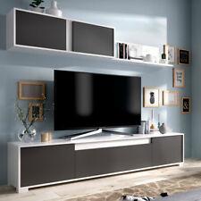 Mueble salón de 200 cms en color blanco brillo y grafito LINE GRAFITO